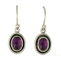 Oval Gem Earrings in Amethyst