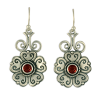 Heart Bloom Earrings in Garnet