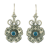 Heart Bloom Earrings in London Blue Topaz