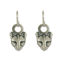 Mountain Lion Extra Small Earrings in Sterling Silver