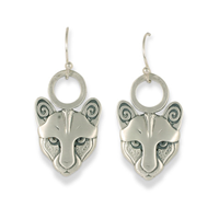 Mountain Lion Earrings Medium in Sterling Silver