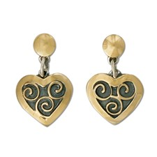 Swirl Heart Earrings in 14K Yellow Gold Design w Sterling Silver Base