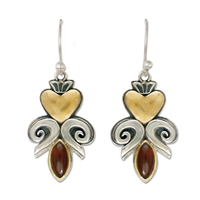 Fleur de lis Heart Earrings in 14K Yellow Gold Design w Sterling Silver Base