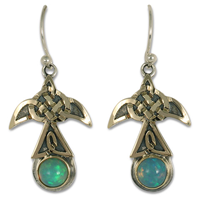 Swallow Earrings with Opal Medium in 14K Yellow Gold Design w Sterling Silver Base