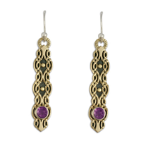 Flow Earrings with Gem in Amethyst