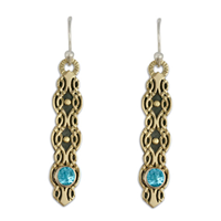 Flow Earrings with Gem in Swiss Blue Topaz