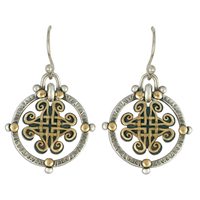 Taliesin Earrings in 14K Yellow Design/Sterling Base