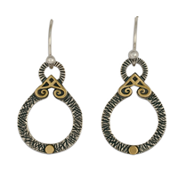Shona Medallion Earrings in 14K Yellow Gold Design w Sterling Silver Base