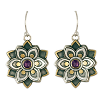 Kamala Earrings with Gem in Amethyst