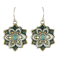 Kamala Earrings with Opal in 14K Yellow Gold Design w Sterling Silver Base