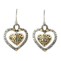 Taliesin Heart Earrings in 14K Yellow Gold Design w Sterling Silver Base
