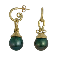 Pearl Knot Earrings in 18K Yellow Gold