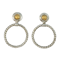 Seville Hoop Earrings in 14K Yellow Gold Design w Sterling Silver Base