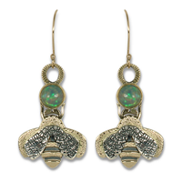 Bee Earrings with Ethiopian Opal in 14K Yellow Gold & 18K Yellow Gold w Sterling Silver