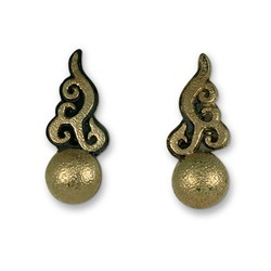Ultimo Earrings in 14K Yellow Gold Design w Sterling Silver Base