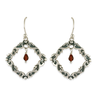 Davina Tear Drop Earrings in Garnet