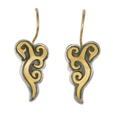 Wind Horse Earrings in 14K Yellow Design/Sterling Base