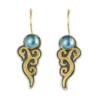 Wind Horse Earrings with Gem in Swiss Blue Topaz
