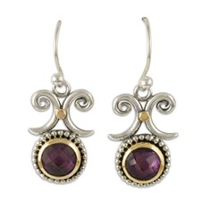 Passion Flower Earrings  in 14K Yellow Gold Design w Sterling Silver Base