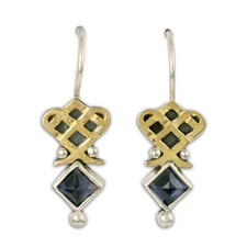 Royal Earrings in 14K Yellow Gold Design w Sterling Silver Base