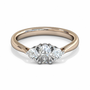 Oval Diamond Trinity Fairtrade Gold Engagement Ring in 18K Rose Gold