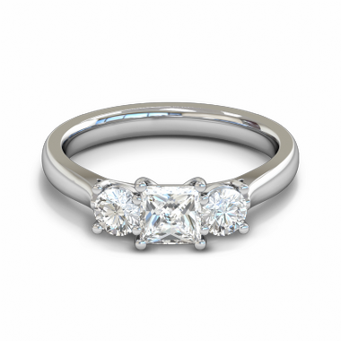Trilogy Princess and Round Diamond Fairtrade Gold Engagement Ring in 18K White Gold