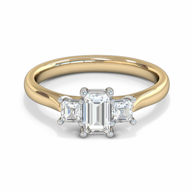 Fairtrade Gold Princess Cut Diamond Trinity Engagement Ring in 18K Yellow Gold
