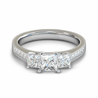 Trilogy Princess Cut Diamond Fairtrade Gold Engagement Ring in 18K White Gold