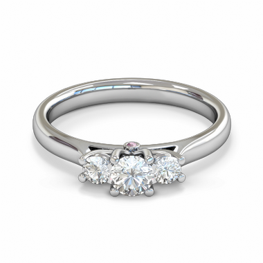 Trilogy Diamond Tulip Fairtrade Gold Engagement Ring in 18K White Gold