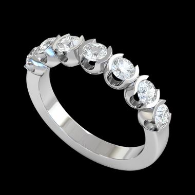 Divine Seven Diamond Fairtrade Gold Eternity Ring in 18K White Fairtrade Gold