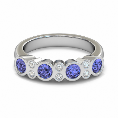 Sapphire and Diamond Fairtrade Gold Engagement Ring in 18K White Gold