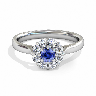 Blue Blossom Halo Sapphire Fairtrade Gold Engagement Ring in 18K White Fairtrade Gold