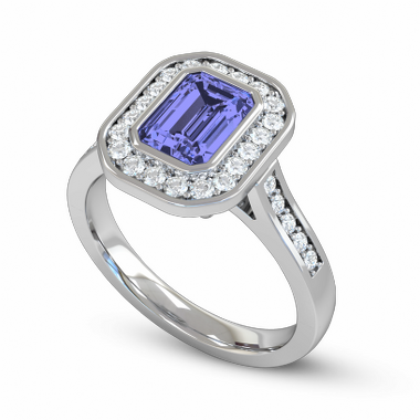 Blue Sapphire and Diamond Vintage Fairtrade Gold Engagement Ring in 18K White Gold