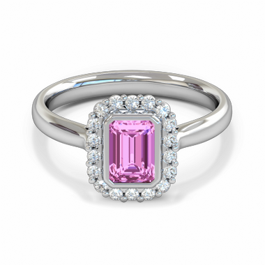 Pink Sapphire and Gem Cluster Fairtrade Engagement Ring in 18K White Gold