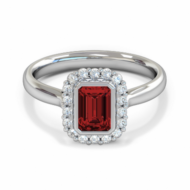 Fairtrade Gold Ruby and Diamond Engagement Ring in 18K White Fairtrade Gold