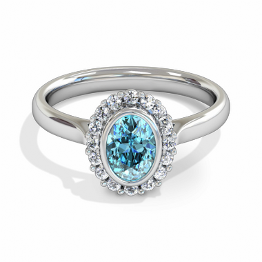 Aquamarine Halo Fairtrade Gold Engagement Ring in 18K White Gold
