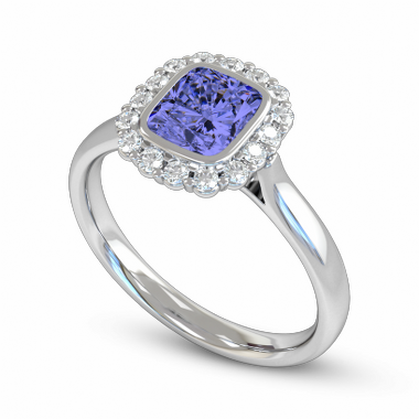 Blue Sapphire with Diamond Cluster Fairtrade Gold Engagement Ring in 18K White Gold