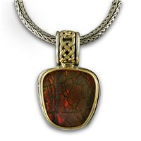 One of a Kind Shannon Red Ammolite Pendant in 18K Yellow Gold Design w Sterling Silver Base