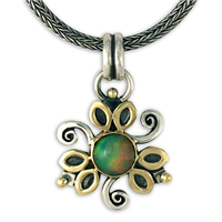 One of a Kind Opal Flower Pendant in 14K Yellow Design/Sterling Base