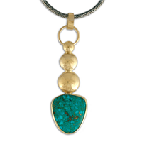 One of a Kind Natural Kingman Turquoise Pendant in 14K Yellow Gold
