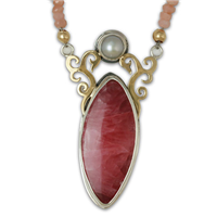 One of a Kind Wind Horse Rhodochrosite Necklace in 14K Yellow Design/Sterling Base