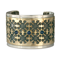 One of a Kind Castillo Cuff Bracelet in 14K Yellow Design/Sterling Base
