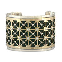One of a Kind Lisboa Cuff Bracelet in 14K Yellow Gold Design w Sterling Silver Base