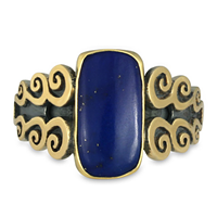 One of a Kind Cascade Ring with Lapis in 18K Yellow Design/Sterling Base