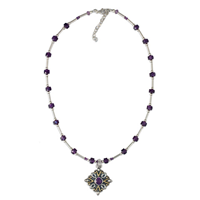 One of a Kind Brigid Necklace with Amethyst in 14K Yellow Design/Sterling Base