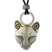 Mountain Lion Pendant in 24K Yellow Gold & Sterling Silver