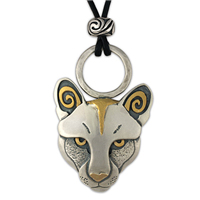 One of a Kind Mountain Lion Pendant in 24K Yellow Gold and Sterling Silver