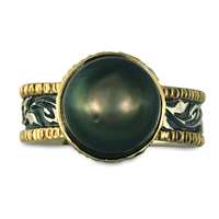 One of a Kind Flores Black Pearl Ring in 14K Yellow Gold Design w Sterling Silver Base