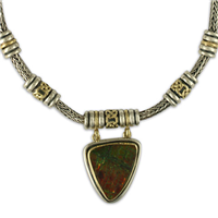 One of a Kind Ammolite Sky Necklace in 18K Yellow Gold Design w Sterling Silver Base