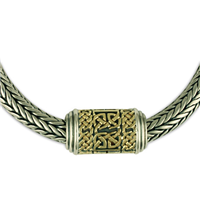 One of a Kind Byzantine Necklace in 14K Yellow Gold Design w Sterling Silver Base